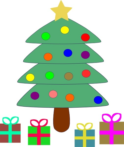 Christmas Tree Gifts clip art Free vector in Open office drawing svg.