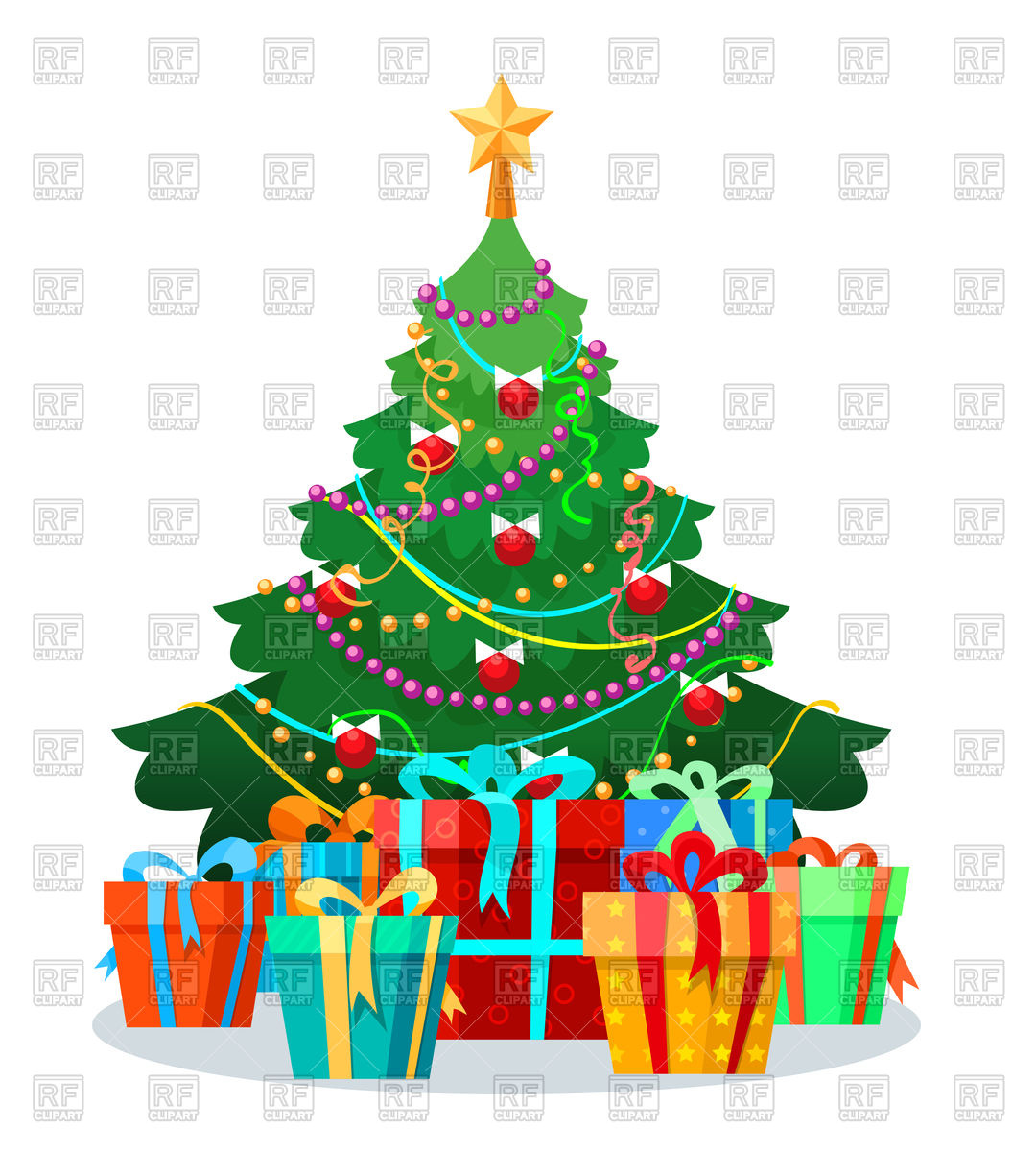 Decorated Christmas tree with bulbs and gifts Vector Image of.