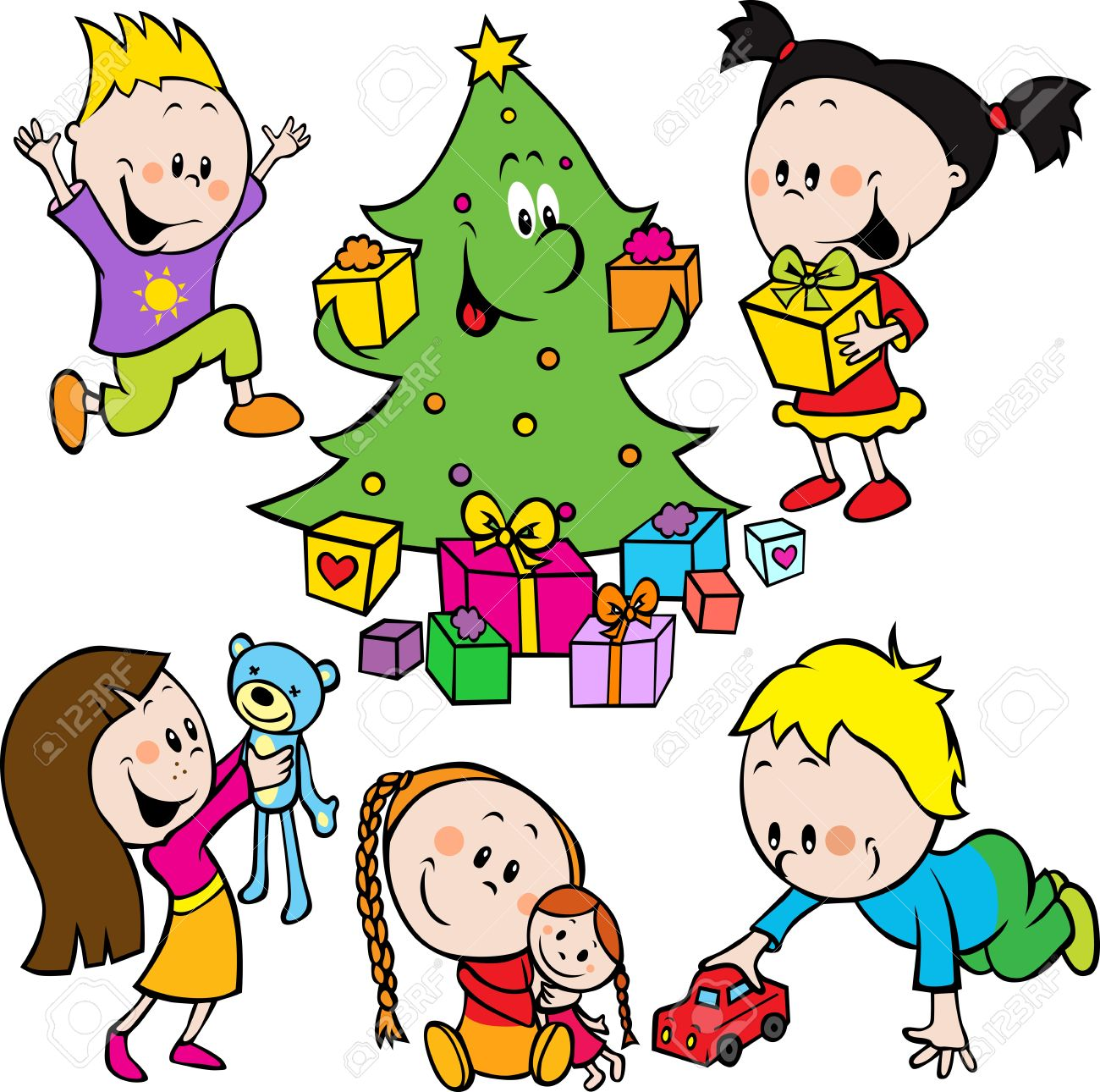 Children Playing With Toys And Christmas Tree Handing Out Gifts.