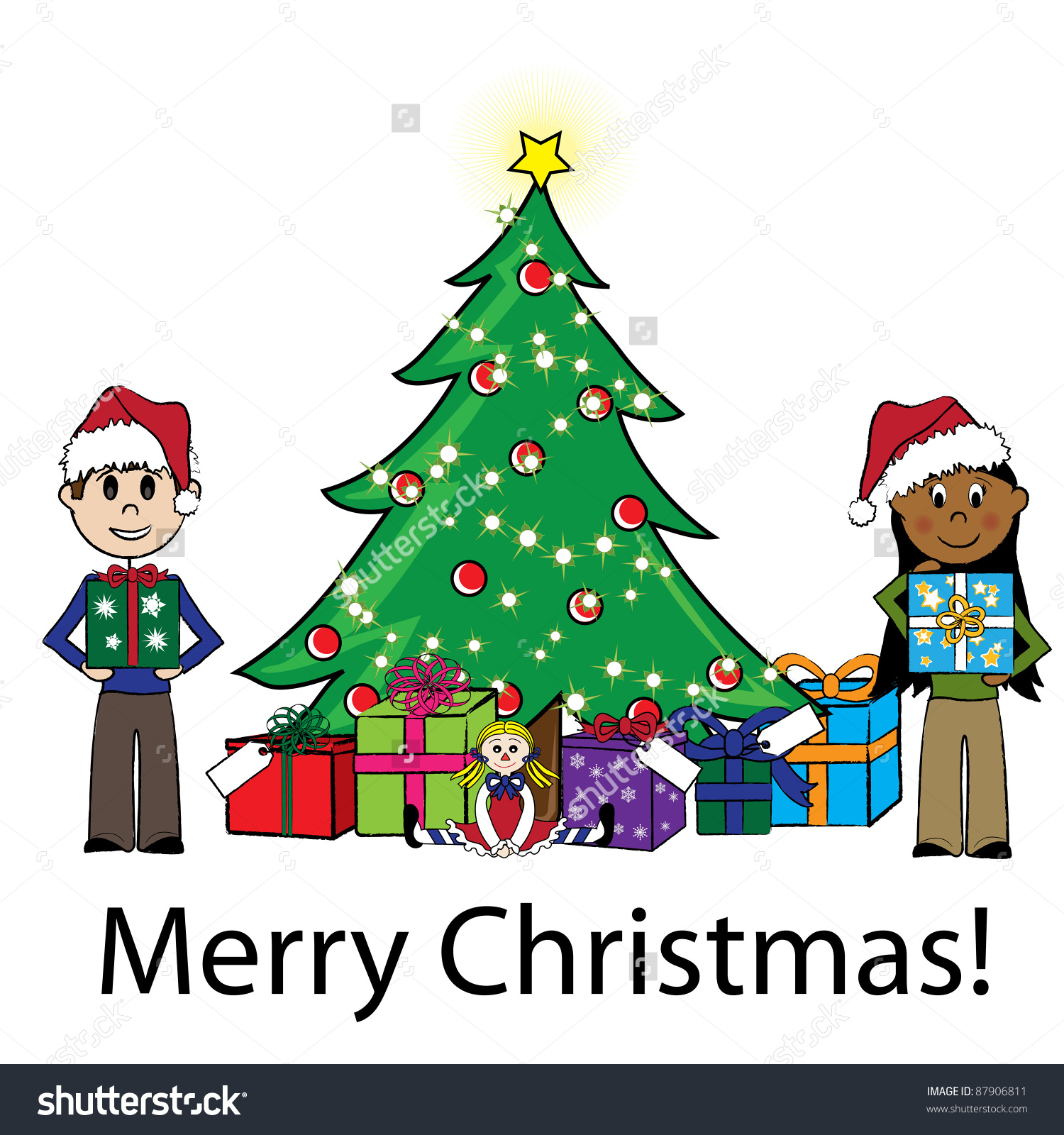 Clip Art Illustration Of Stick Kids Around A Christmas Tree With.