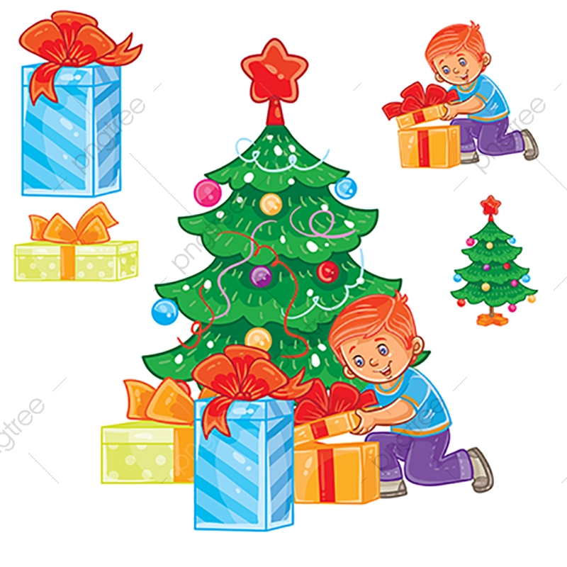 Little Boy Opening Christmas Presents, Christmas, Kids, Tree PNG and.