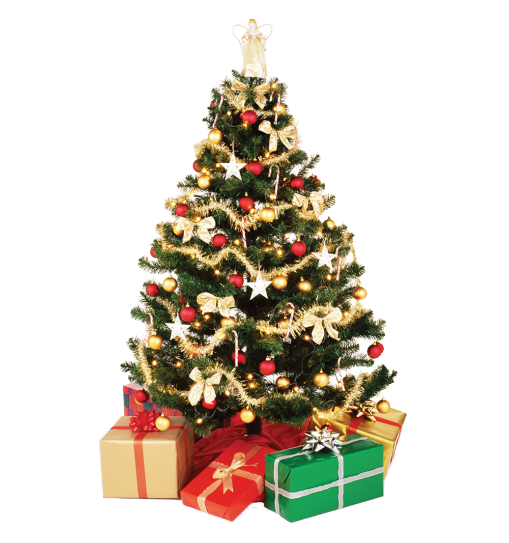 Christmas Tree with Presents PNG Image.