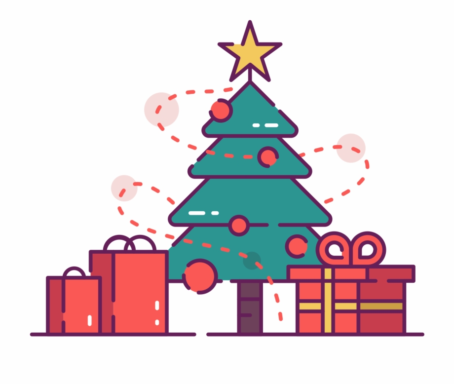 Christmas Tree With Presents Clip Art.