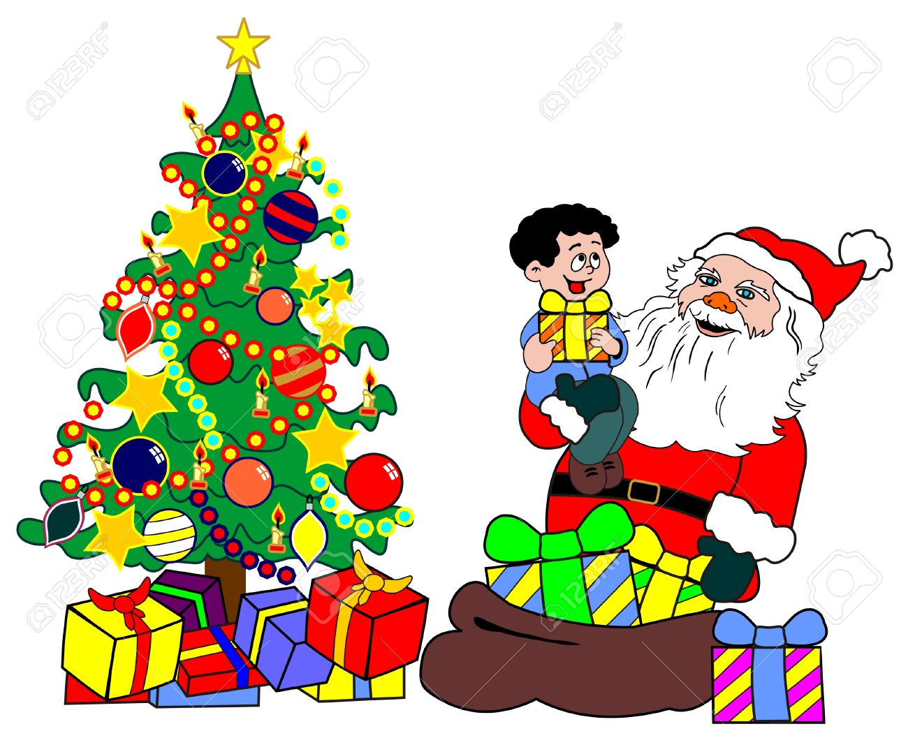 santa claus with child and christmas tree.