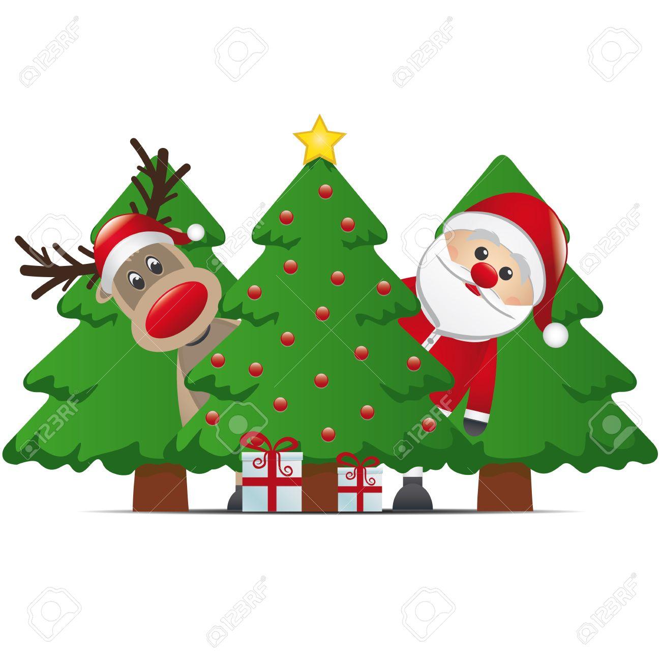 reindeer santa claus christmas tree gift box.