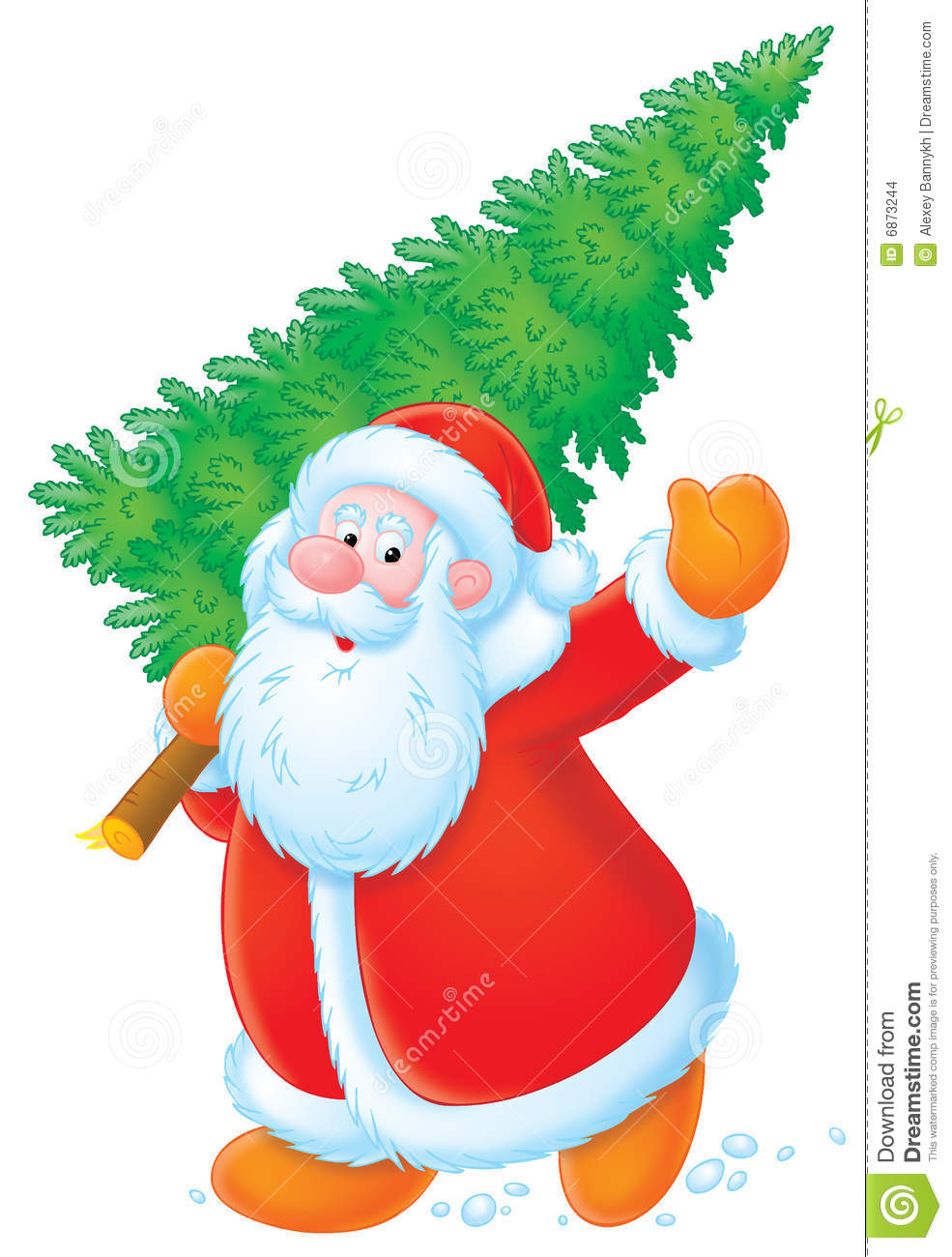 Santa Claus With Christmas Tree Stock Illustration.