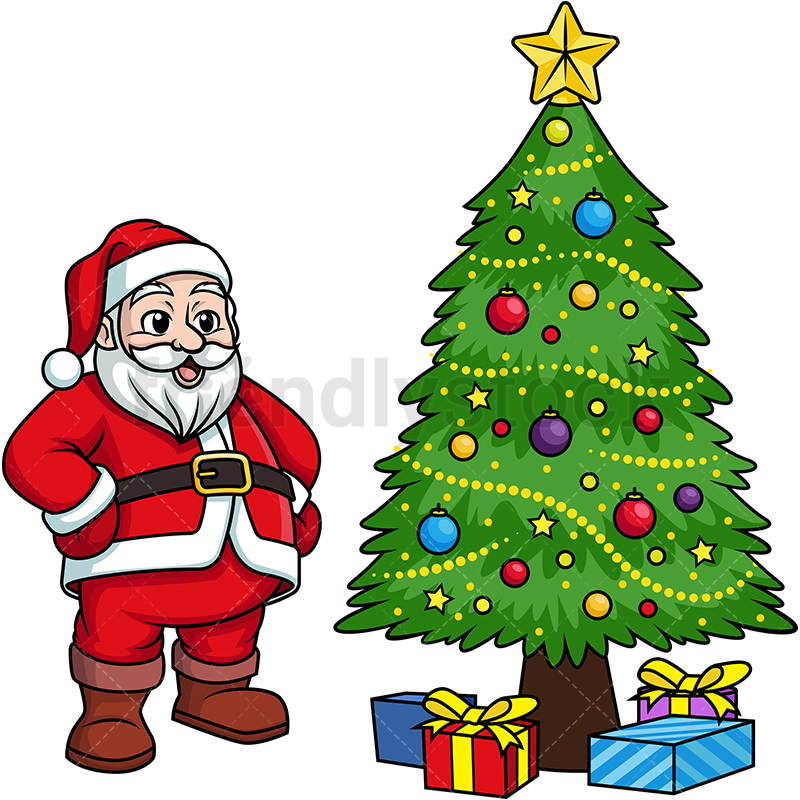Santa Claus In Front Of Decorated Christmas Tree.