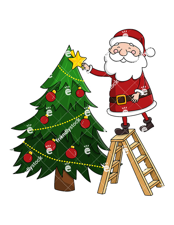 A Cute Santa Claus On A Ladder Decorating A Christmas Tree.