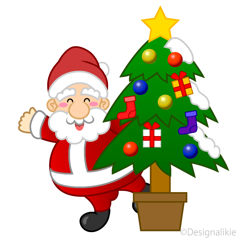 Santa and Christmas Tree Clipart Free Picture|Illustoon.