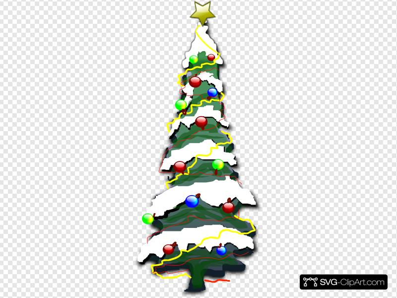 Decorated Christmas Tree With Snow Clip art, Icon and SVG.