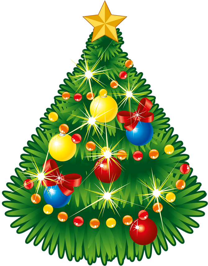Transparent Christmas Tree with Star PNG Clipart.
