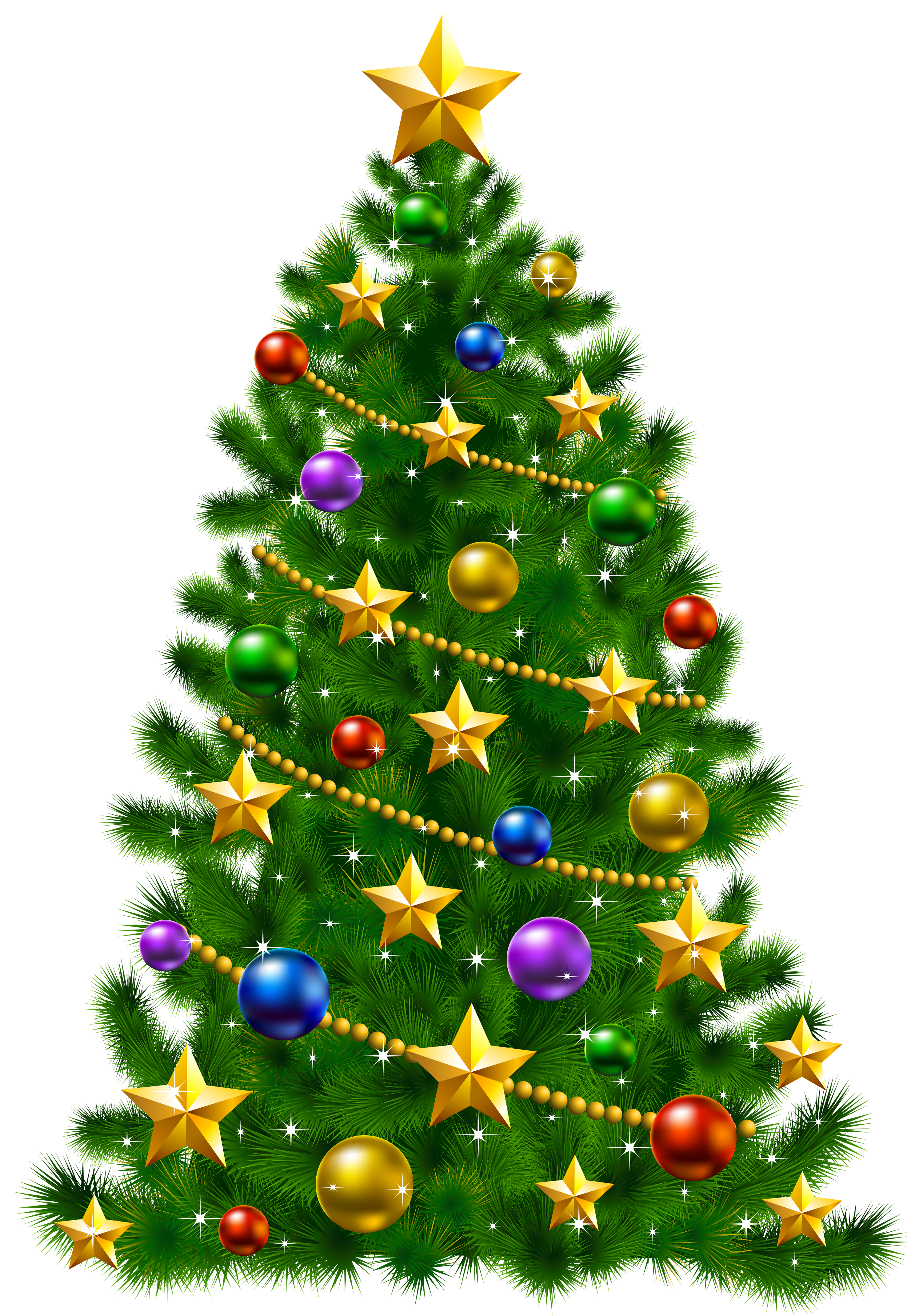 Transparent Christmas Tree with Stars PNG Clipart.