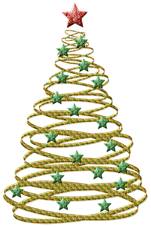 Transparent Gold Christmas Tree with Green Stars PNG Picture.