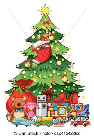 Many toys under Christmas tree.