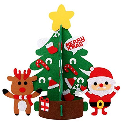 DIY Felt Christmas Tree New Year Gifts Kids Toys Artificial Tree Wall  Hanging Ornaments Christmas Decoration for Home.