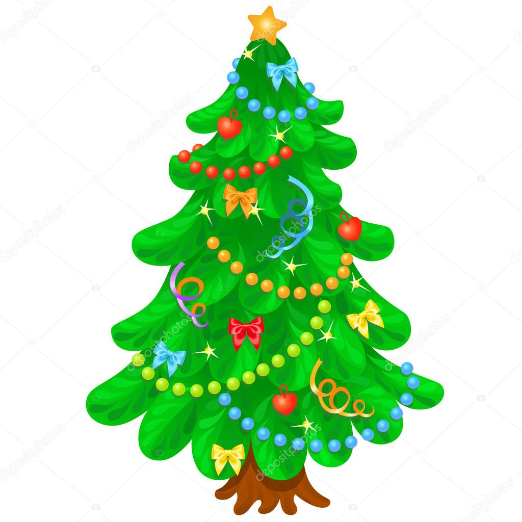 Christmas tree with bright toys in white background — Stock Vector.