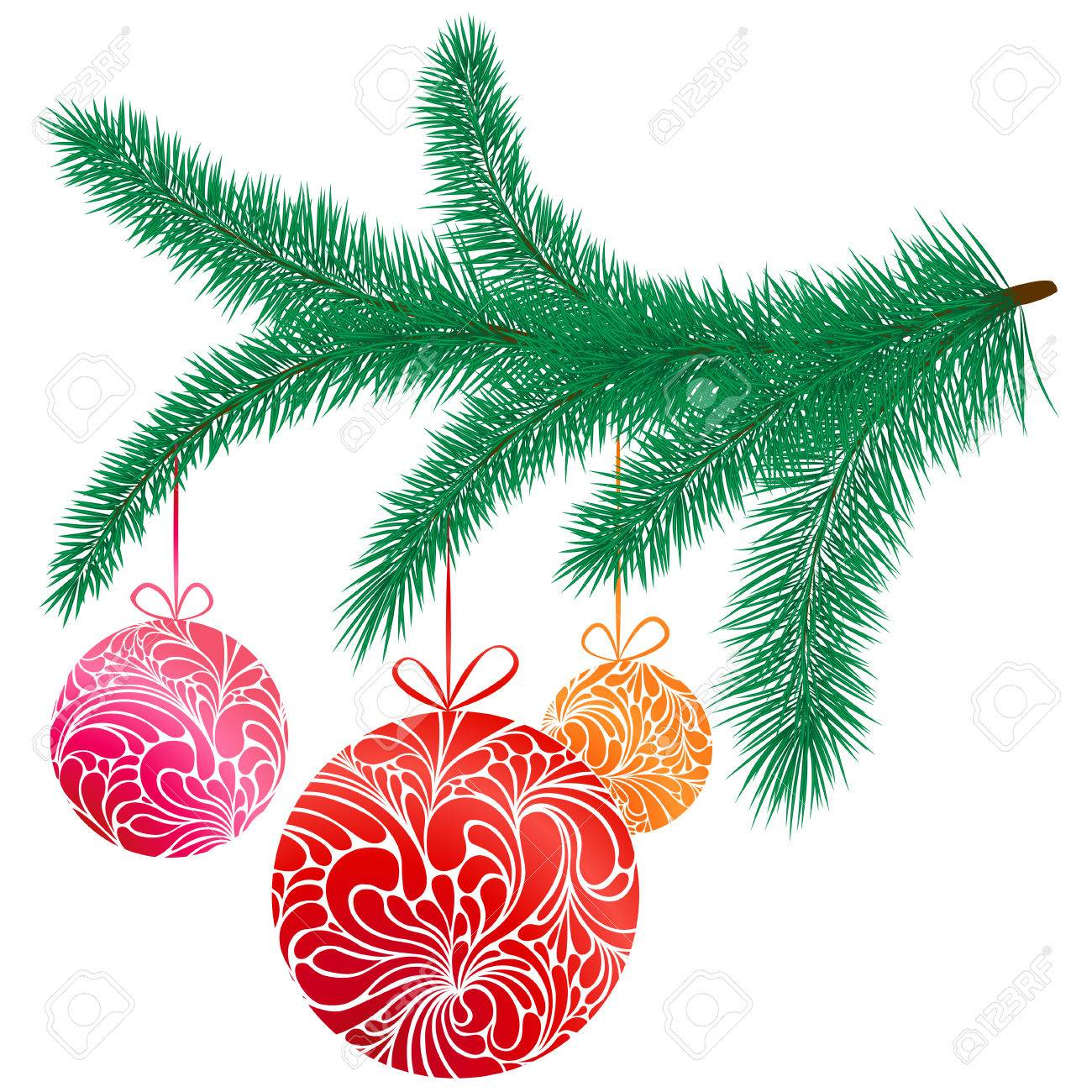 Vector illustration with golden Christmas tree toys on fir.