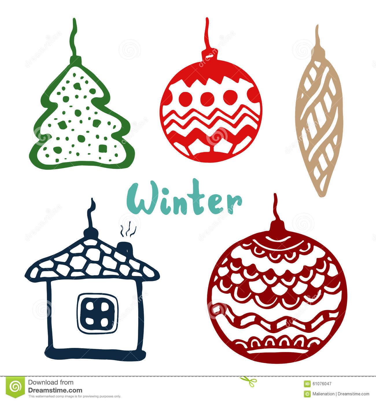 Christmas Tree Toys, Color Vector Art Stock Vector.