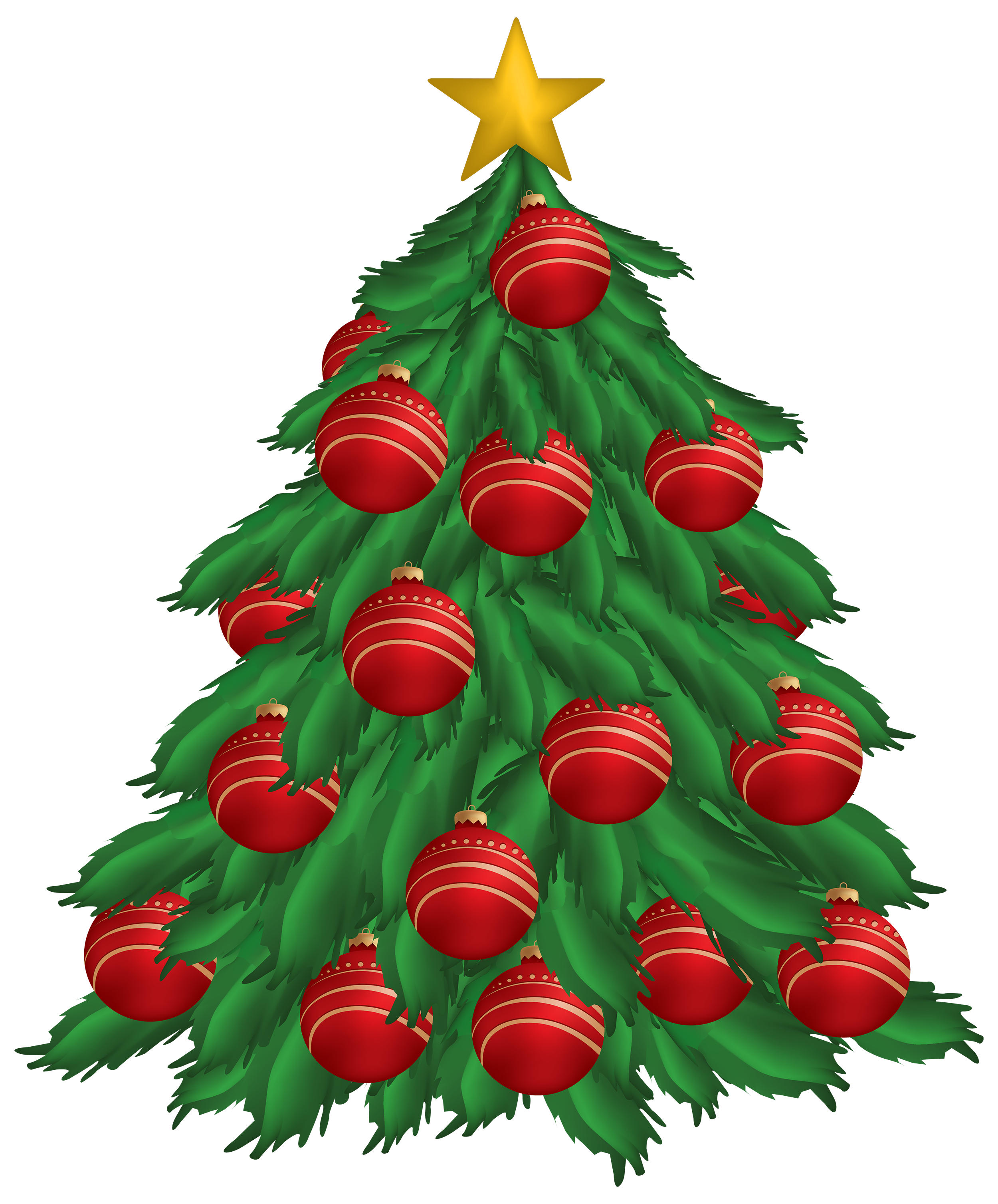 Christmas Tree with Red Christmas Ornaments PNG Clipart.