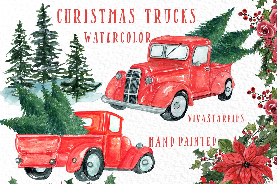 Christmas Truck clipart, CHRISTMS TREES,Watercolor Christmas.