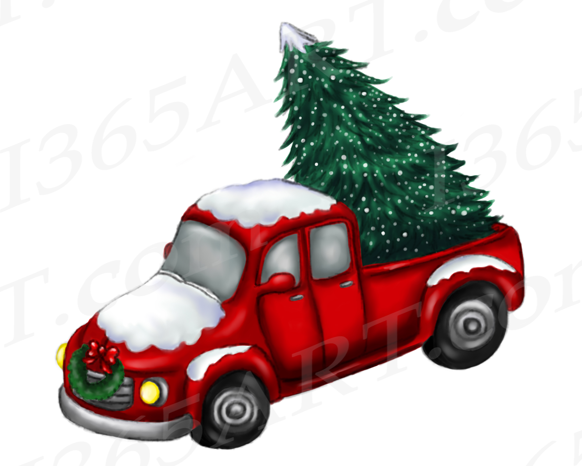 Christmas Truck Clipart, Watercolor Red Truck PNG.