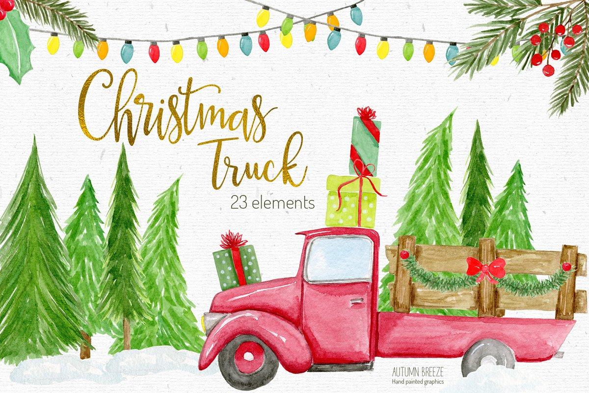 Christmas truck clipart.