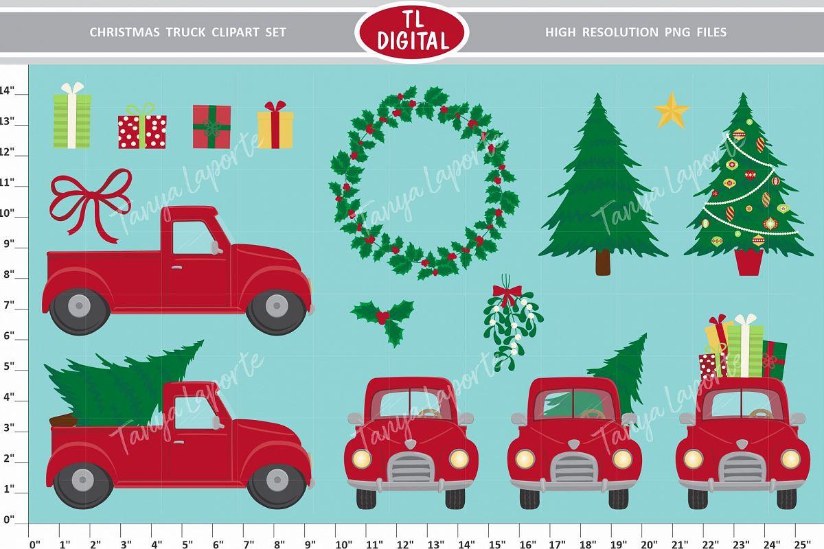 Christmas Truck Clipart Set.