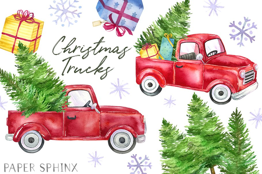 Christmas Truck Clipart Pack.