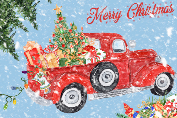 Christmas clipart, Christmas truck.
