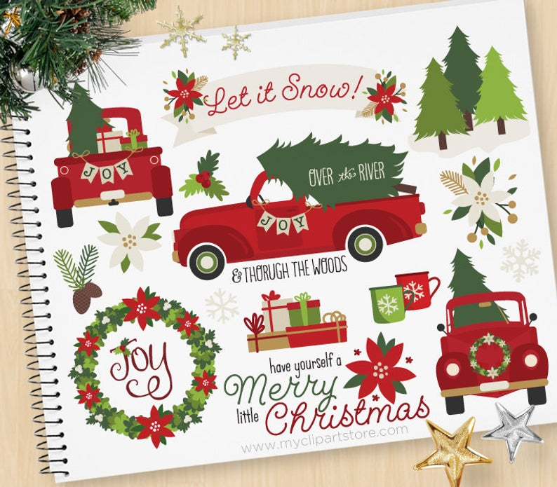 Christmas Truck Clipart, Truck with Christmas Tree, Presents, Farmhouse,  Vintage, Red Truck, Commercial Use, Vector clip art, SVG Files.