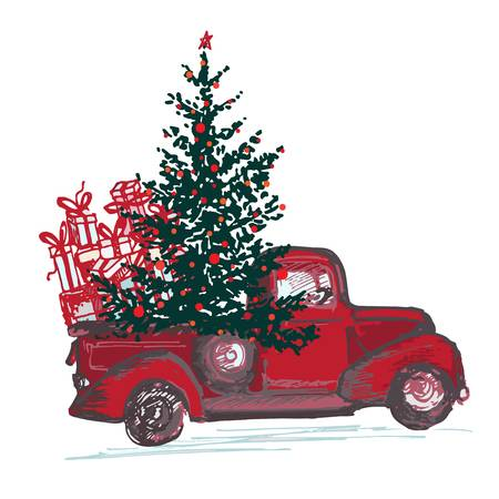 1,570 Christmas Truck Cliparts, Stock Vector And Royalty Free.
