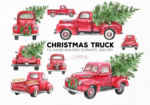 Red truck clipart. Watercolor.
