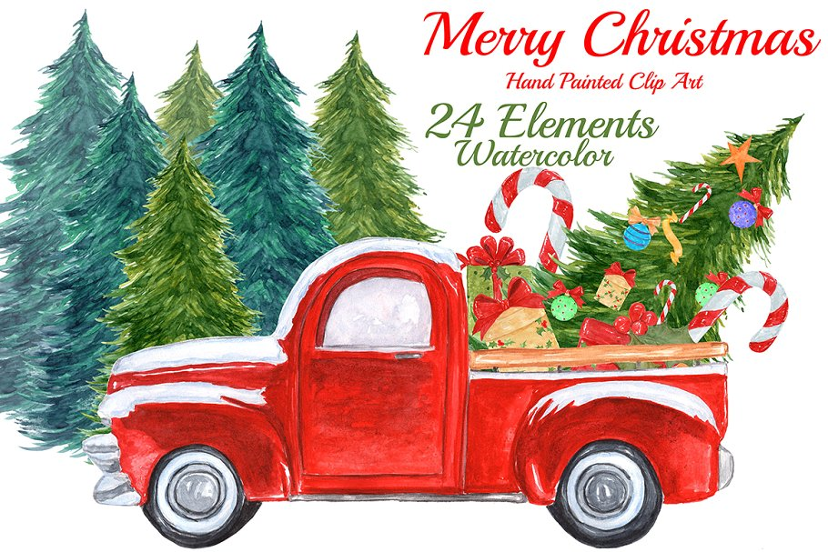 Watercolor Christmas truck clipart.