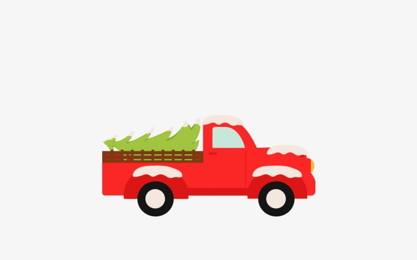 Image Black And White Stock Christmas Truck Clipart.