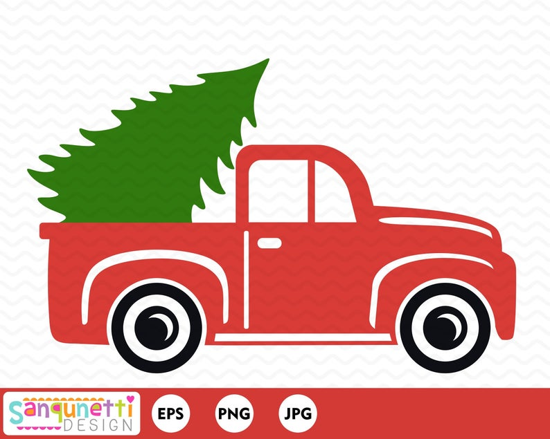 Christmas vintage pickup truck clipart, vector art for holiday projects.