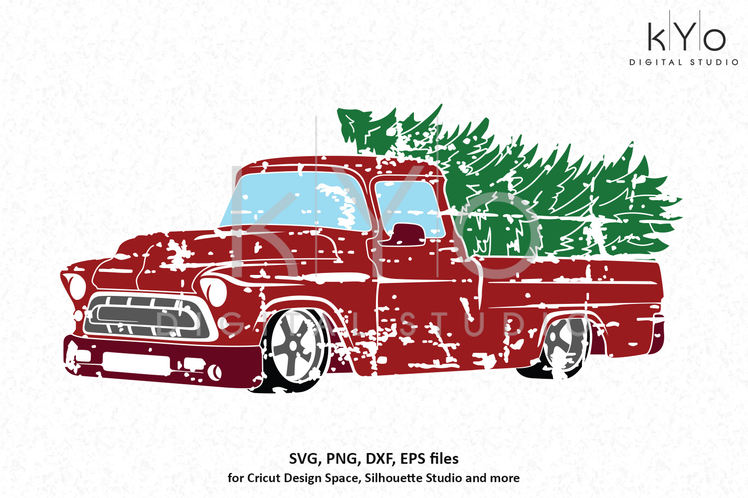 Distressed Christmas truck SVG PNG DXF EPS files.