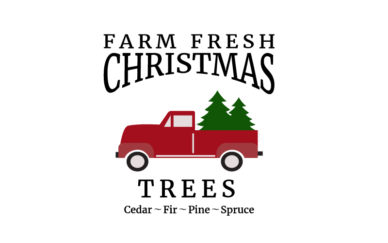 Christmas Tree svg, Vintage red truck svg. Cutting file for.
