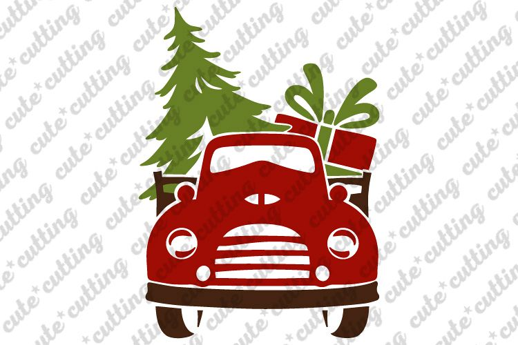 Front Christmas truck with tree and gift svg, png, dxf, pdf.
