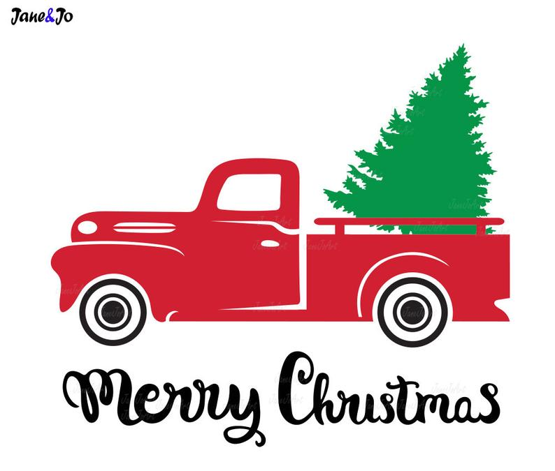 Truck With Christmas Tree SVG,Red truck Tree SVG,Christmas Tree svg  Files,Truck With Tree eps, dxf, png,pdf,Merry christmas truck tree svg.