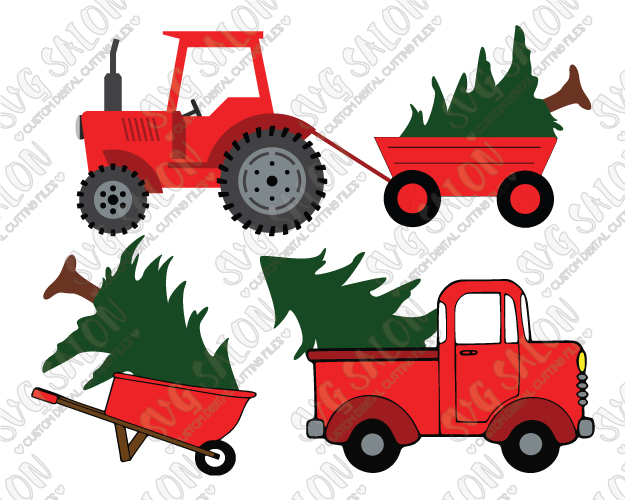 Red Truck and Christmas Tree Cut File Set in SVG, EPS, DXF, JPEG, and PNG.