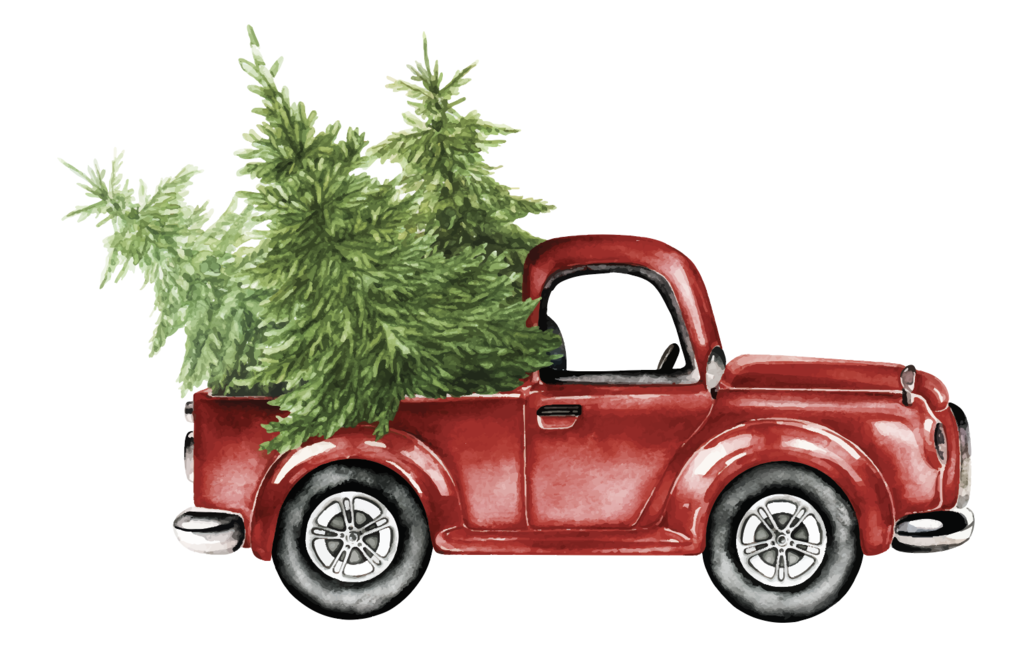 Classic Truck with Christmas Tree Decal.