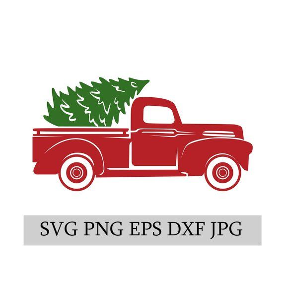 Christmas Truck & Tree SVG EPS JPG png dwg Digital Download.