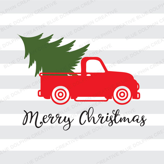 Vintage Truck Christmas tree delivery SVG dxf png pdf jpg ai, Cricut.
