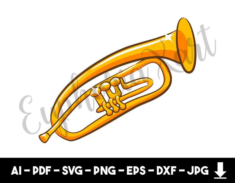 Trumpet svg, trumpet clipart, trumpet cricut, christmas angel trumpet,  trumpet design, trumpet horn, party horn, vehicle horn.