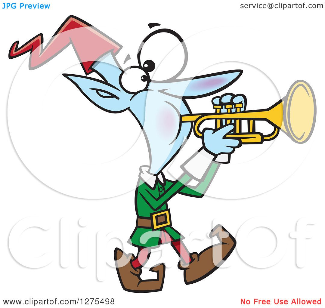 Cartoon Clipart of a Happy Christmas Elf Marching and Playing the.