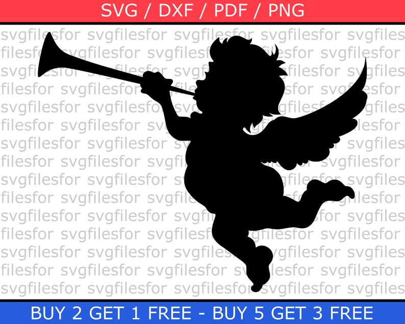 Angel Christmas SVG file Cupid with trumpet Clipart Free Cut files for  Silhouette Dxd Pdf Png.