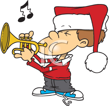 Royalty Free Clipart Image of a Boy in a Santa Hat Playing a Trumpet.
