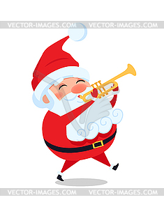 Santa Playing on Trumpet, Cute Christmas Father.