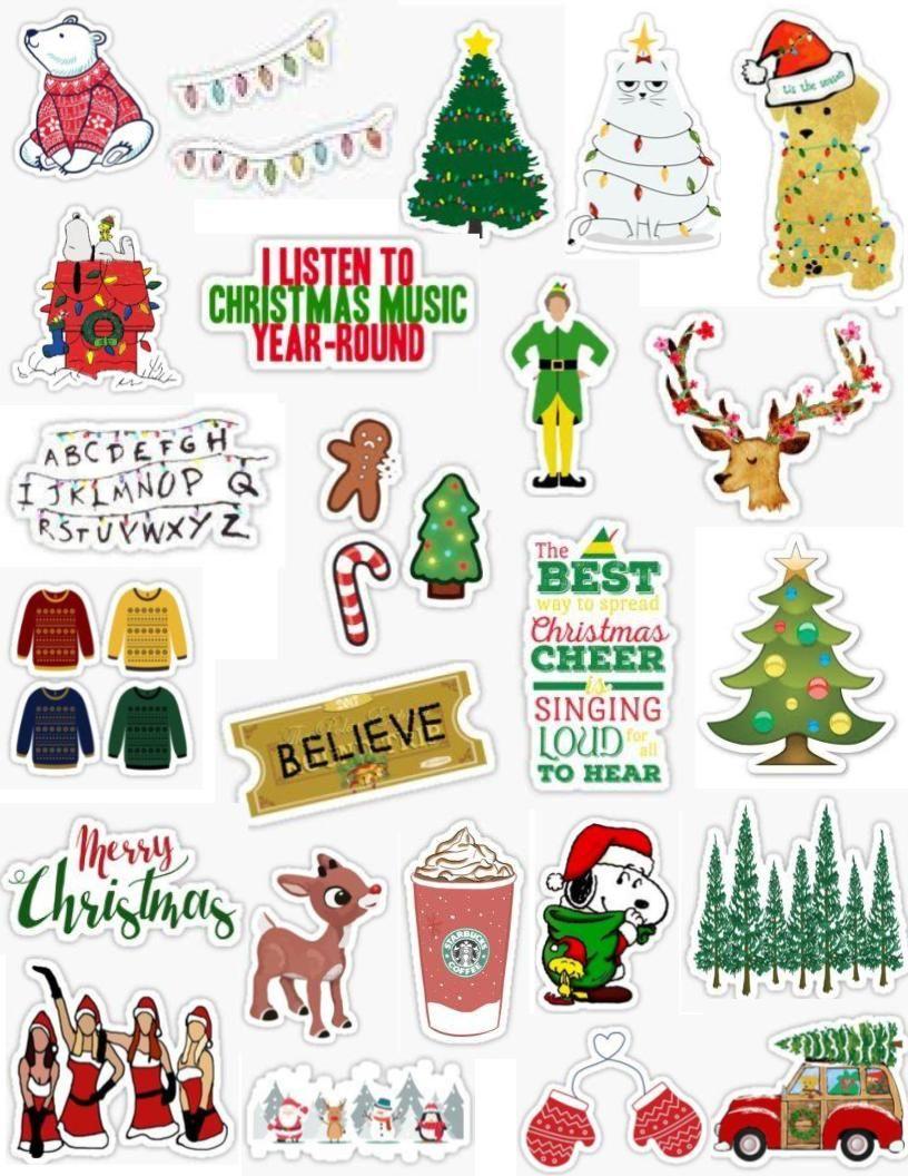 Christmas sticker pack aesthetic, cute, tumblr, winter, elf.