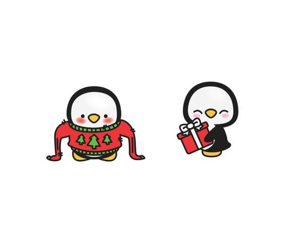 Premium Vector Clipart Kawaii Christmas Penguins Cute.